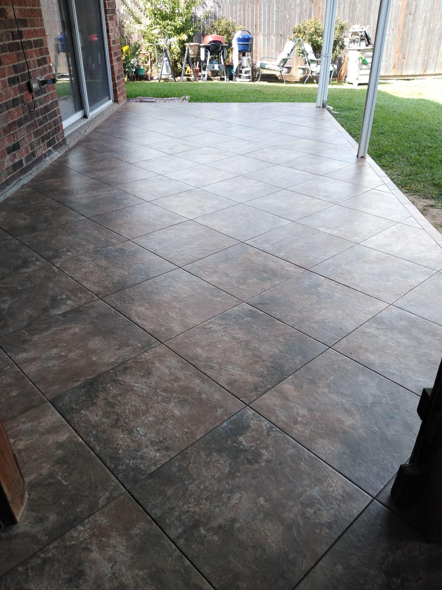 Arko 20x20 Porcelain Tile Laid On The Diagonal On A Back Porch