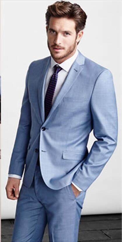 Light Blue Gentleman Suit Casamento Terno Italian Style Groom ...