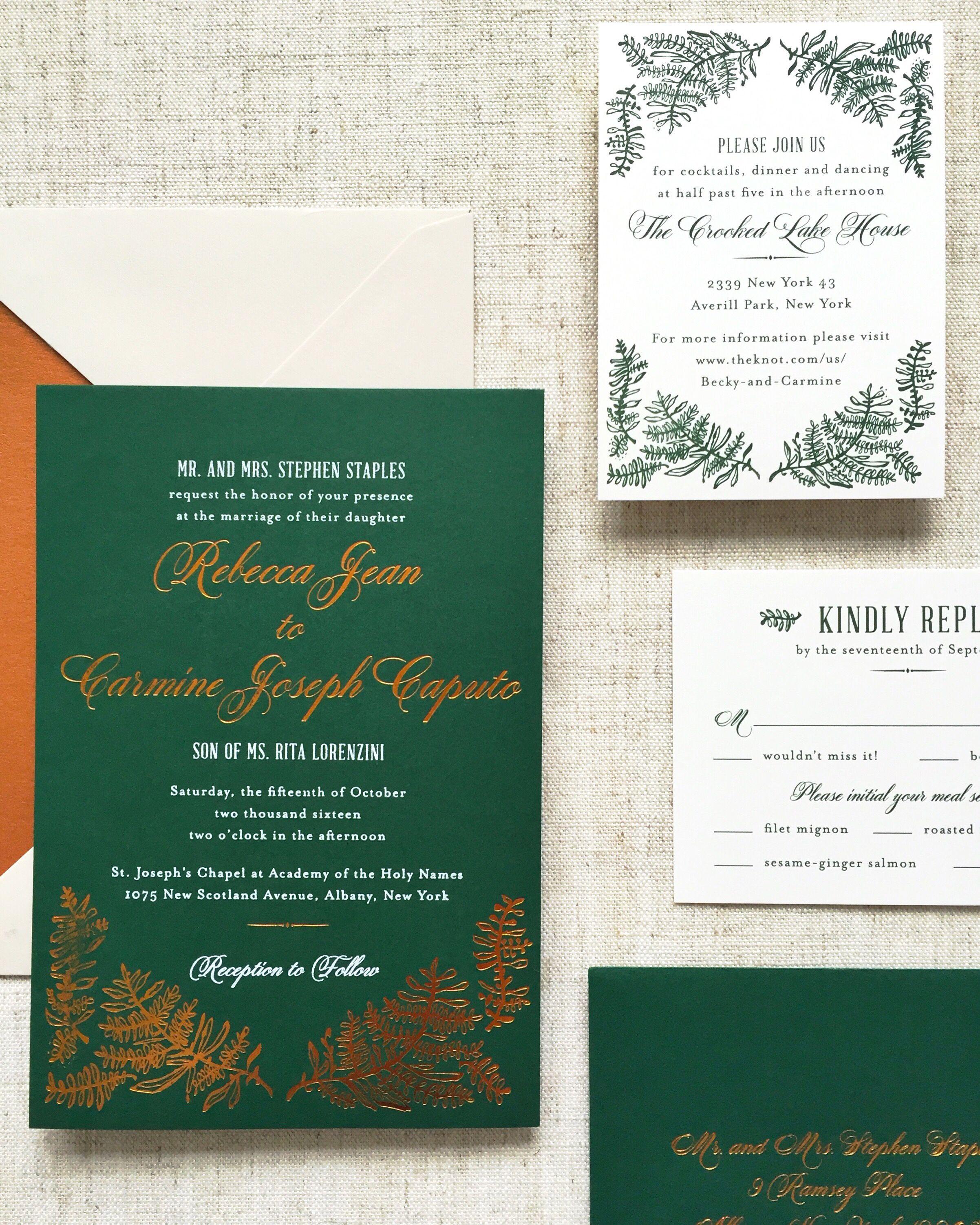 Fall Wedding Invitation Ilration Copper Foil