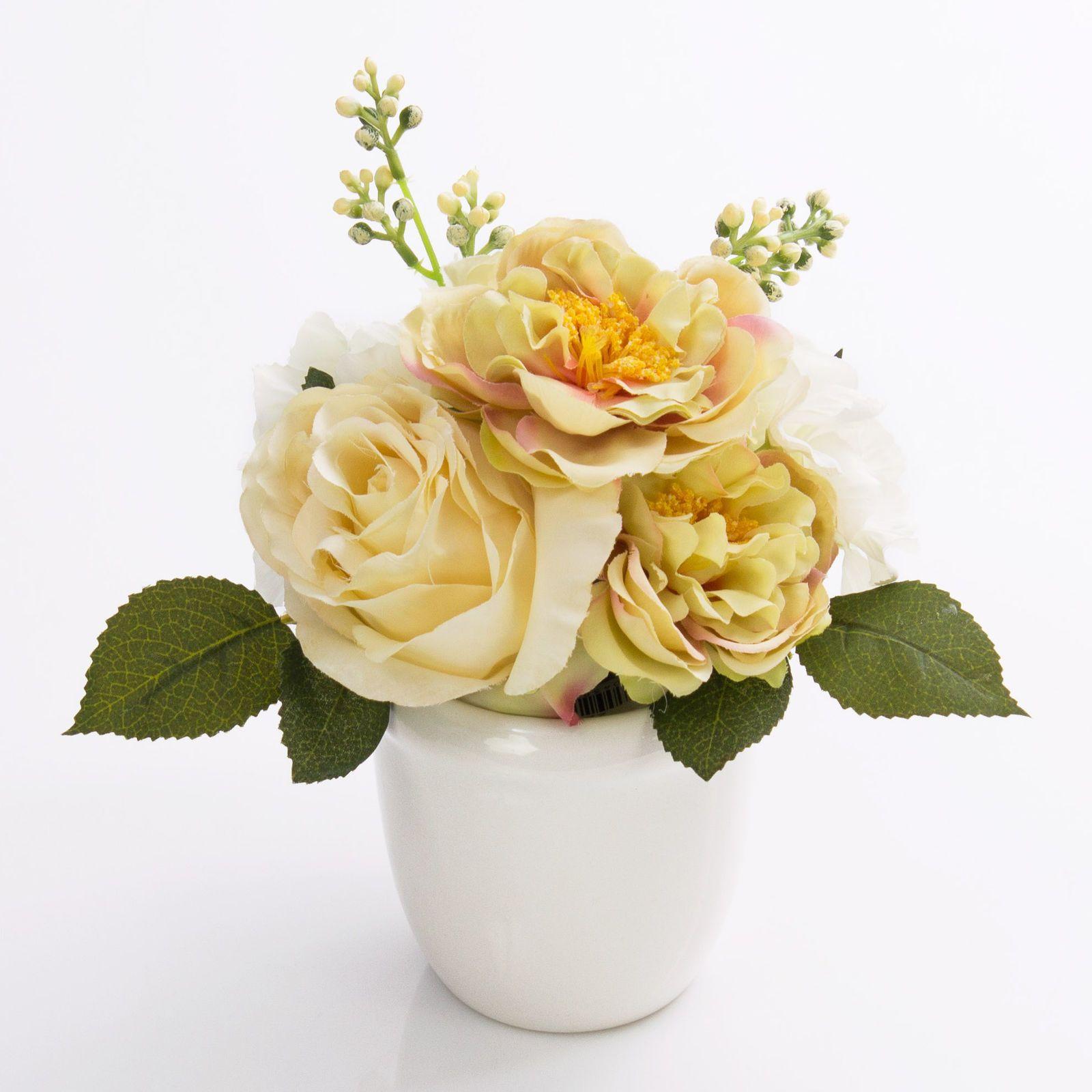 Vaso Con Ortensie Finte composizione di rose, ortensie artificiali seline in vaso