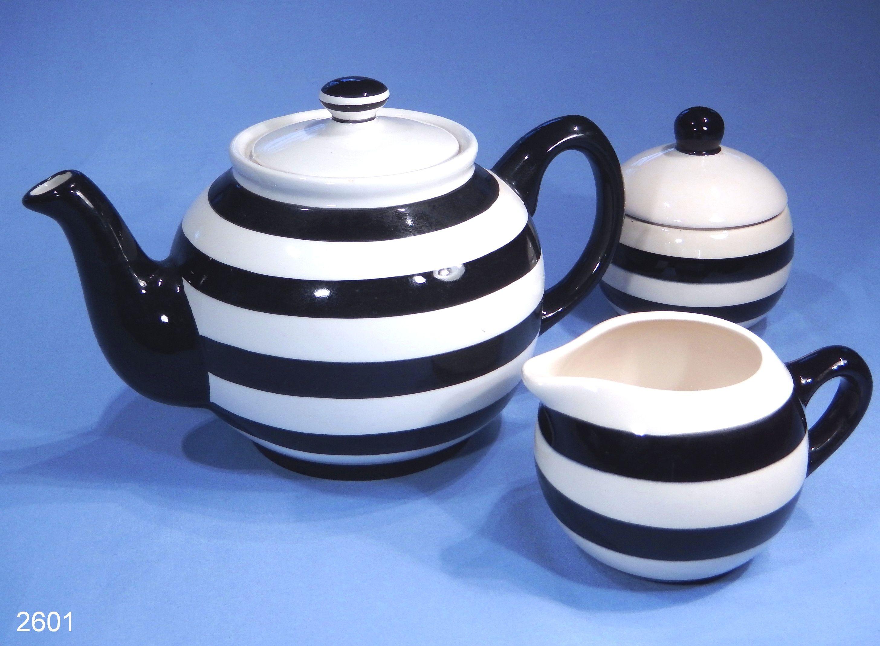 Sugar bowls with lids - Price Kensington Pristine Pottery Black And White Vintage Teapot Milk Jug And Sugar Bowl Set