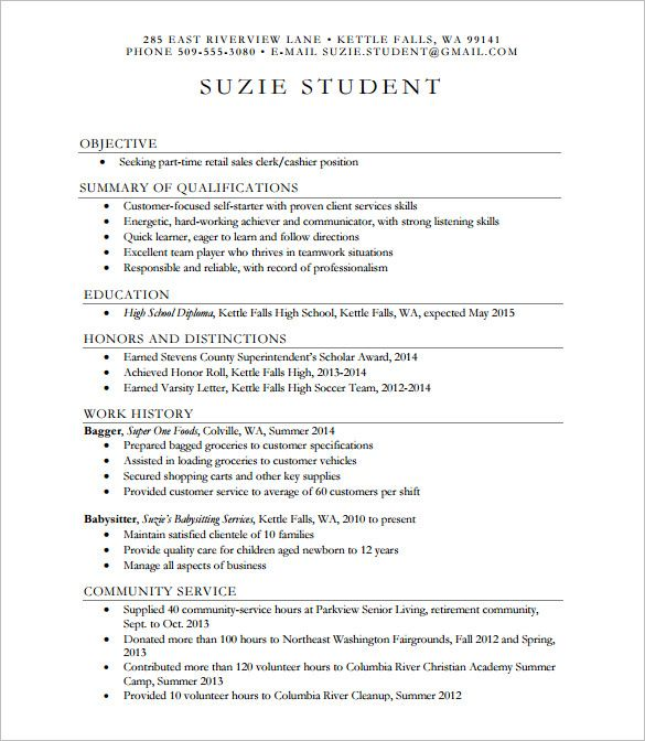 School Resume Template 10 High School Resume Templates  Free Samples Examples