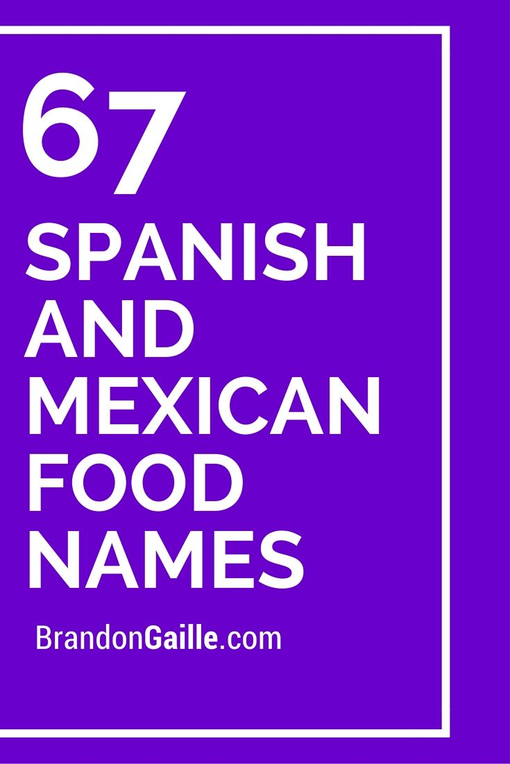 List Of 67 Spanish And Mexican Food Names Mexican Food Names