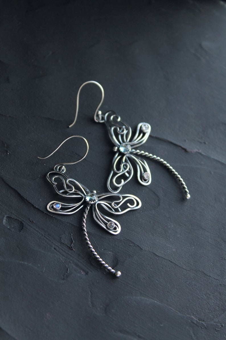 Photo of Dragonfly earrings silver wire wrapped jewelry Statement insect earrings Nature lover boho earrings Woodland elven