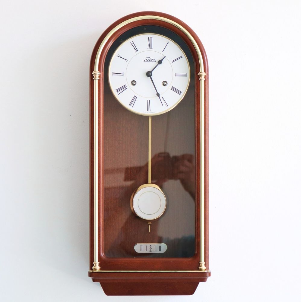 Selva Hermle Wall Clock Mid Century Vintage Bell Chime Germany Wood Glass 8 Day Selva Wall Clock Mid Century Clock Clock