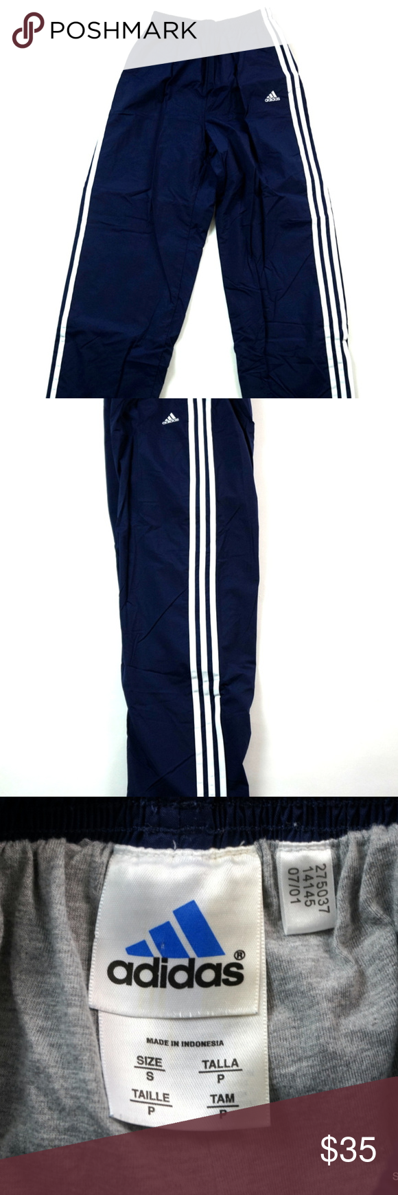 VTG 90s Men's Adidas Lined Windpants Sz Small