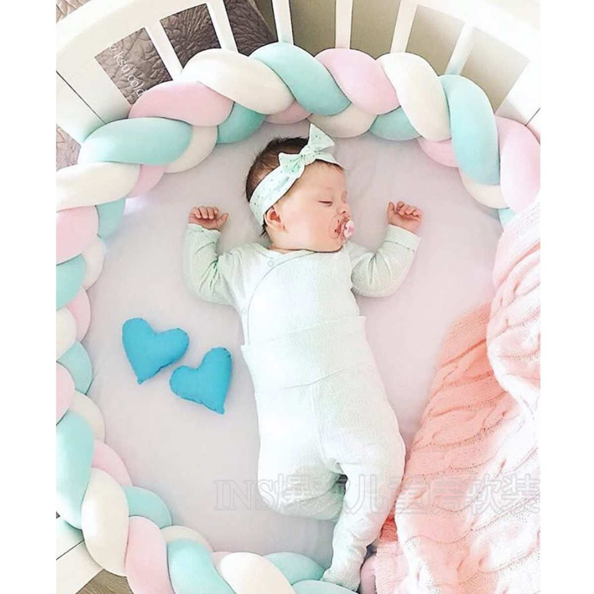 Sweet Baby Soft Knot Pillow Braided Crib Bumper Decorative Baby Bedding Sheets Cushion