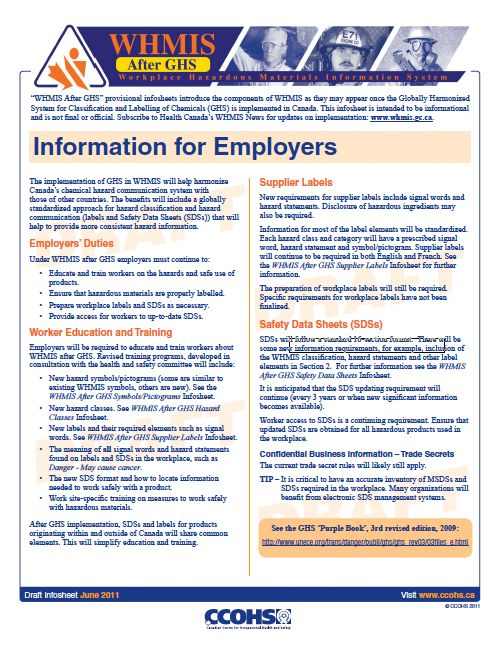 WHMIS After GHS - Information for Employers Fact Sheet Workplace - manual handling risk assessment