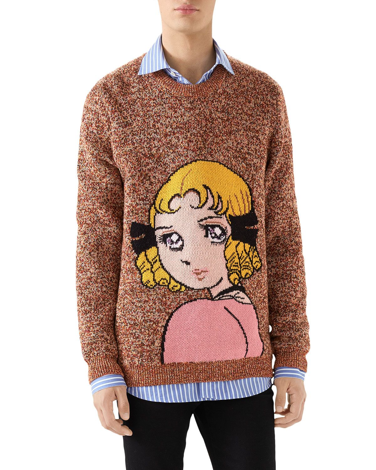 b20b7b8dfa4 GUCCI MEN S GIRL-GRAPHIC HEATHERED SWEATER.  gucci  cloth