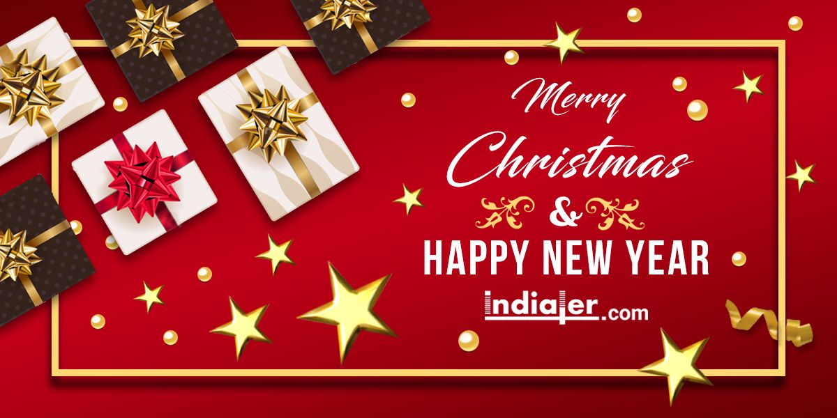 merry christmas and happy new year 2018 text psd banner merry