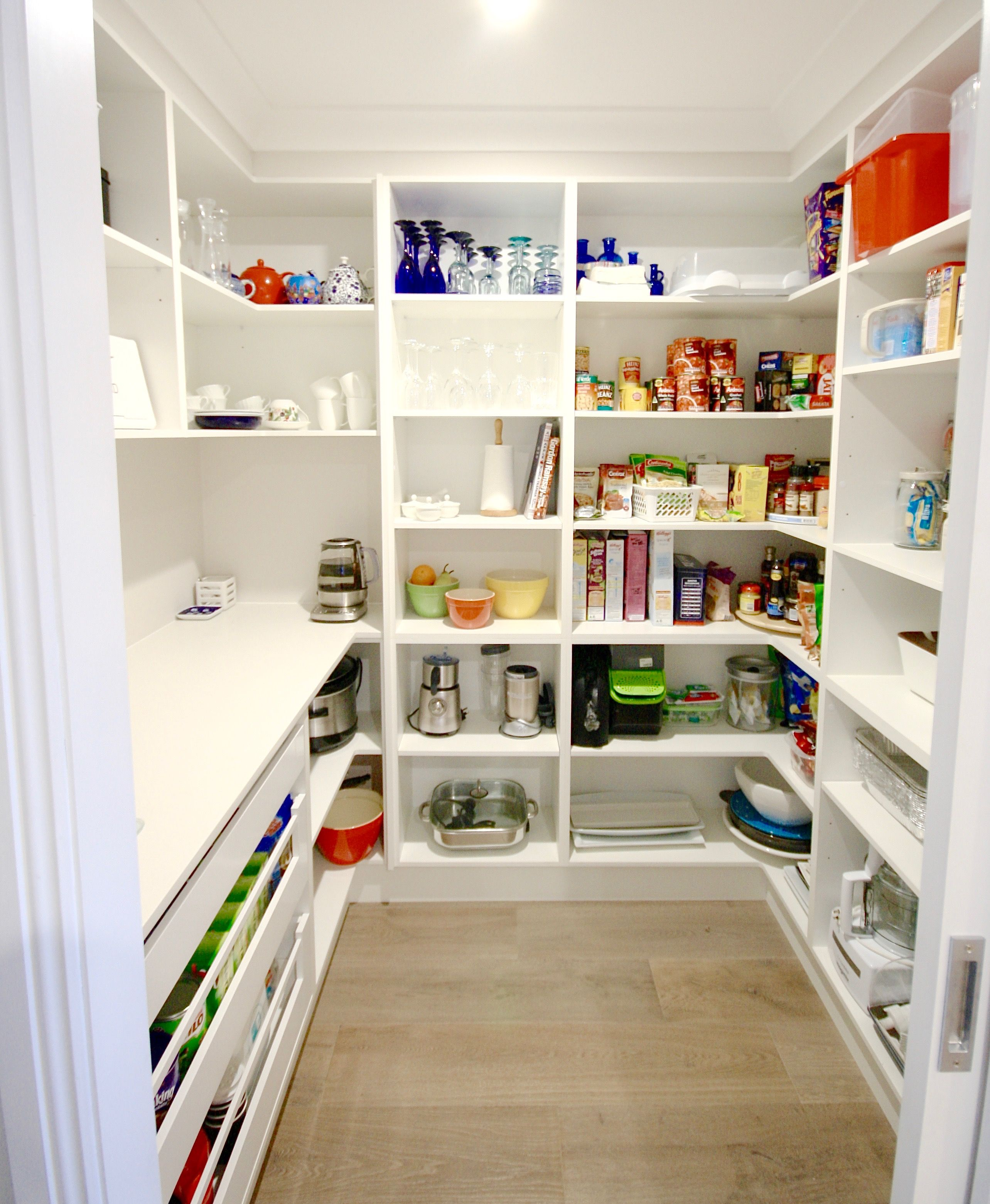 Modern walk in pantry open shelving open drawers for Walk in pantry