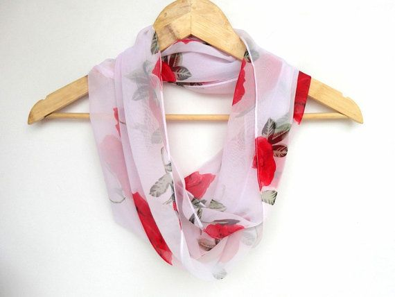 infinity scarf with red rose pattern chiffon fabric by scarvesCHIC, $19.00