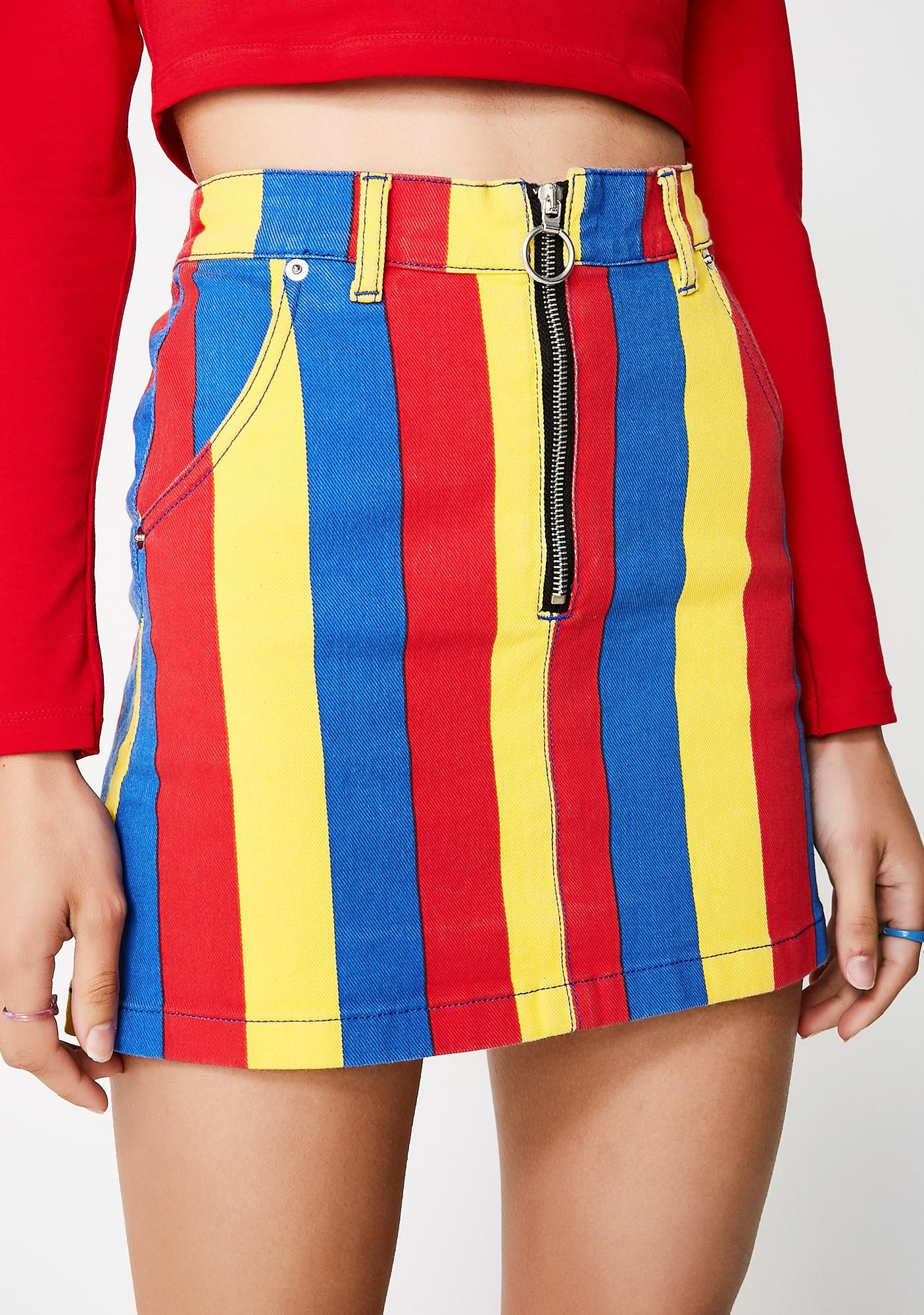 134ba28fe Paint The Town Denim Skirt you're the hottest babe in town! This denim mini  skirt has a colorful striped design,a high waisted fit, and a front zipper  ...