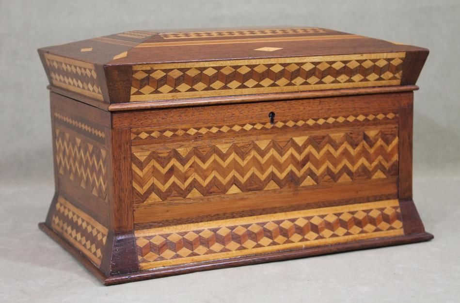 Antique Victorian-period American Folk Art Parquetry Inlaid Wood Fitted Box Perfect All Original Condition    Sold  Ebay   325.00.       ~♥~