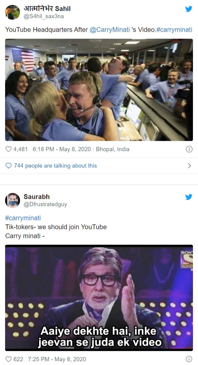 Carry Minati S Latest Video Youtube Vs Tiktok Is Trending Everywhere Crazy Funny Memes Really Funny Youtube