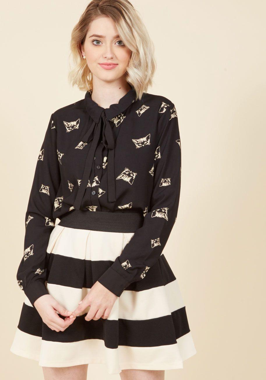 Stripe It Lucky Skater Skirt in Black & Ivory
