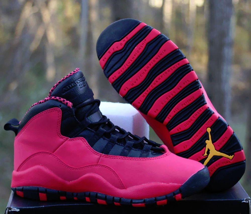 Details about Nike Girls Air Jordan 10 Retro GS Size 5.5Y Fusion Red Black  Orange 487211-605