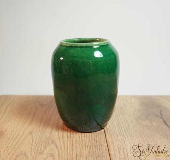 Early Pieter Groeneveldt Ceramic Vase In Green 30s Dutch Modernist