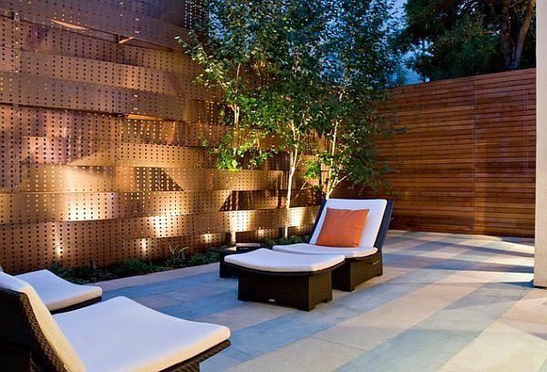 integrierte Beleuchtung schicke Terrasse Gartenmöbel Rattan - elemente terrassen gestaltung