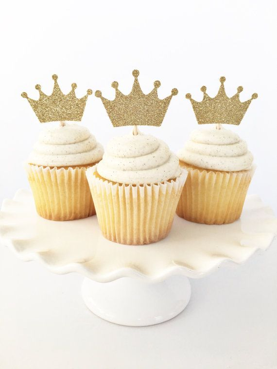 Gold Crown Cupcake Toppers   Where The Wild by GlitterDesignsCo ... 2ada79743ba0