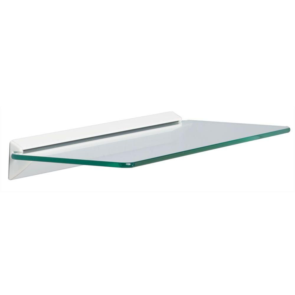 Knape & Vogt 18 in. W x 6 in. D Wall Mounted White Glass Decorative ...