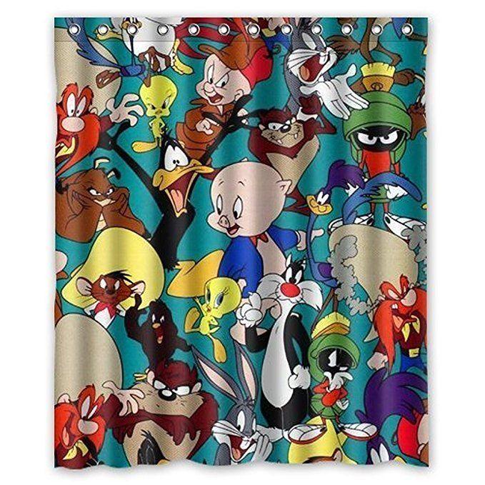 Generic Looney Tunes Bath Curtain Shower 6072 Inch Polyester Waterproof