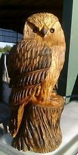SUSSEX CHAINSAW CARVING OWL ELM WOOD HOME OR GARDEN SCULPTURE STATUE art