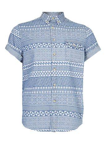 259f4b29026 White Aztec Print Short Sleeve Blue Denim Shirt - Men s Shirts - Clothing