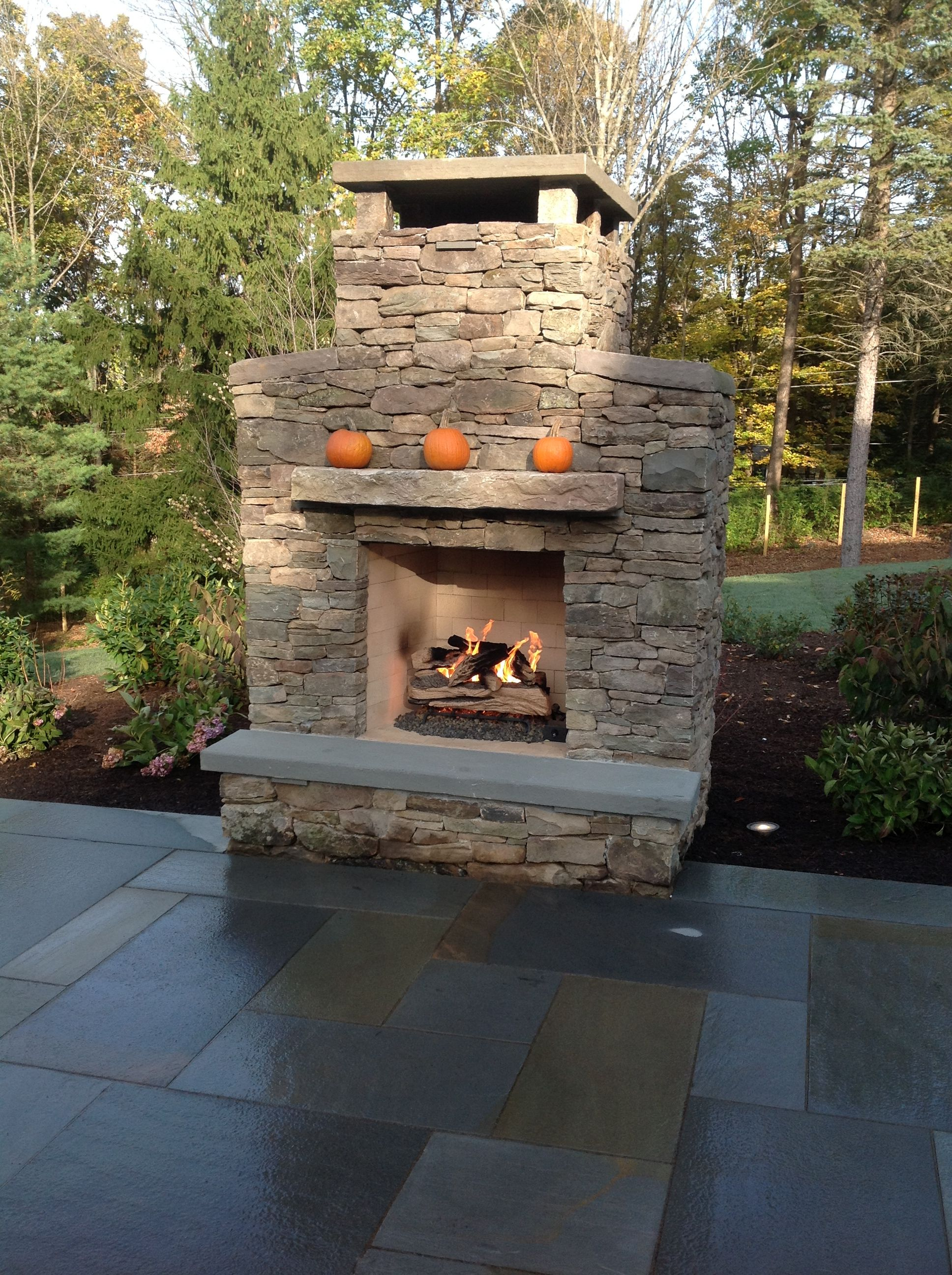Natural Gas Outdoor Fireplace With Bluestone And Fieldstone Surround By Cording Landscape Desi Natural Gas Outdoor Fireplace Outdoor Fireplace Landscape Design