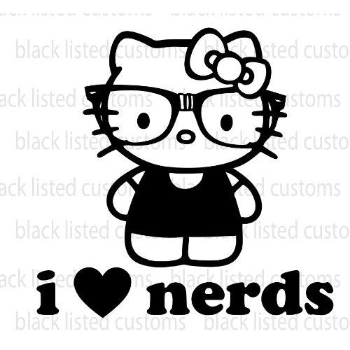 Hello Kitty I Love Nerds BLACK Glasses Heart Vinyl Decal Sticker