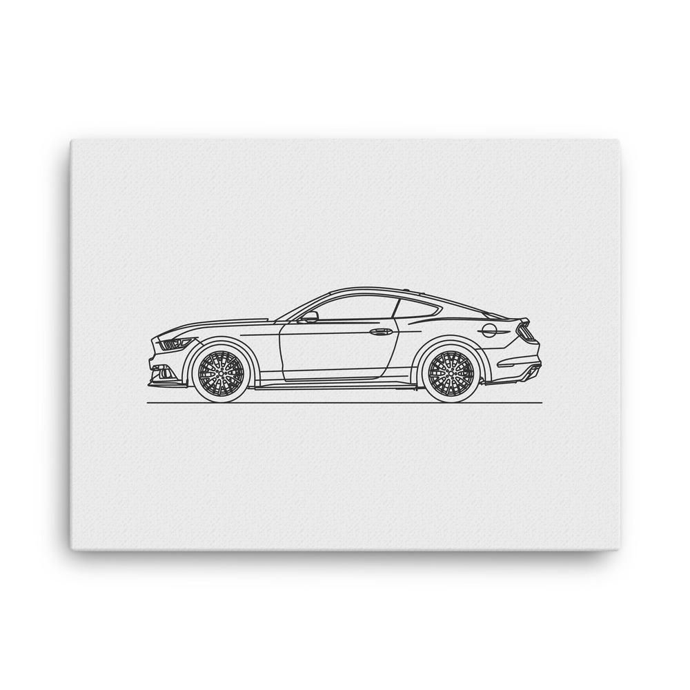 Mustang gt th gen minimal line art canvas canvases and products