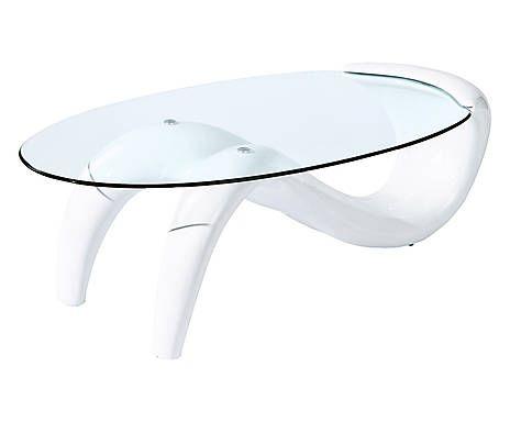 Tavolino in abs e vetro woman bianco cm casa