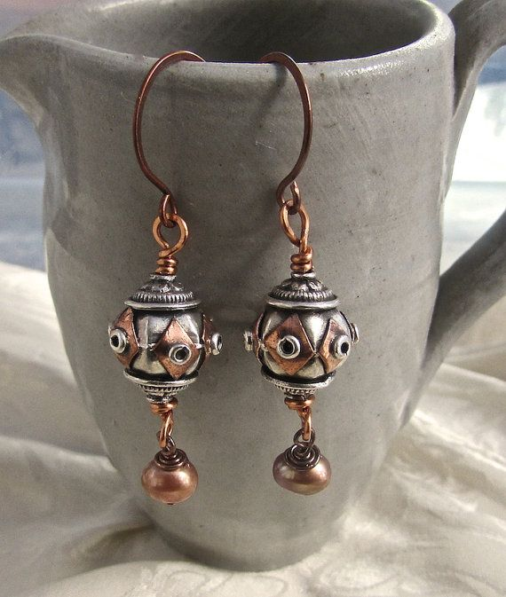 Gorgeous Silver And Copper Wire Work Bali Bead Earrings
