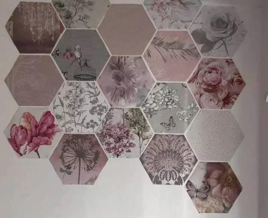 Thrifty Mum Transforms Her Home Using Free Wallpaper Samples Free Wallpaper Samples Wallpaper Samples Hexagon Wallpaper