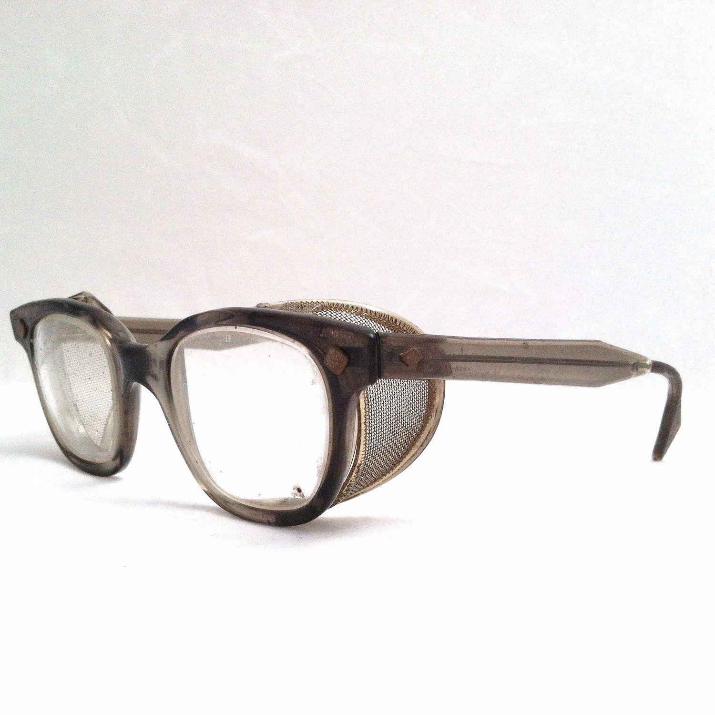 STEAMPUNK SAFETY GLASSES / Vintage Horn Rimmed Industrial