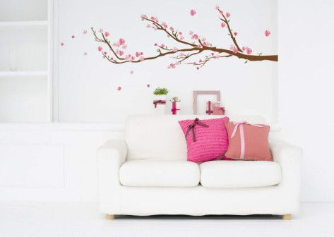 Cherry Blossoms Wall Decal Sticker Cherry Blossoms Cherries And - How to put a decal on my wall