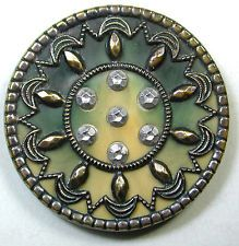 Antique Victorian Celluloid Button Fancy Brass Design on Pretty Celluloid Liner