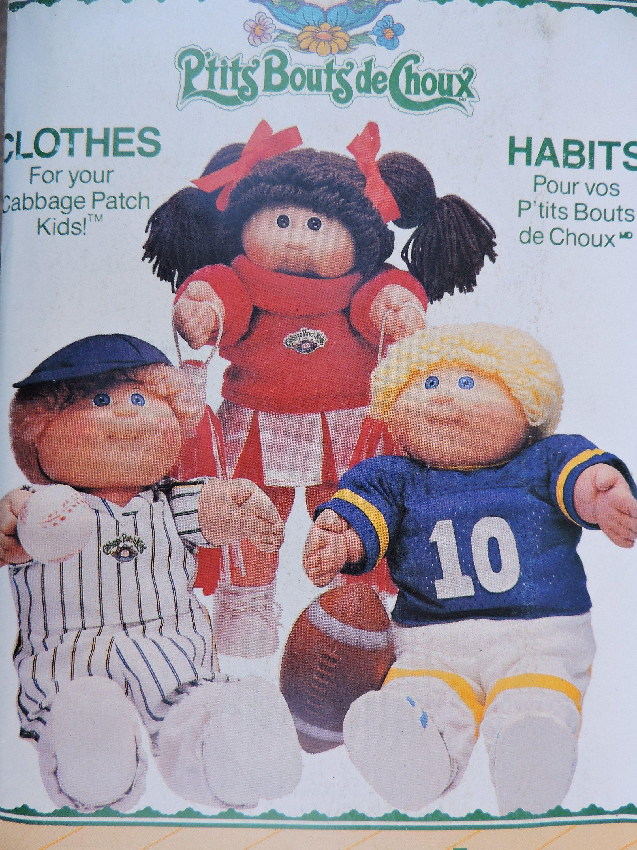 Cabbage Patch Kids Dolls Clothing Football Baseball Cheerleader Sporting Vintage 1984 Dolls Butterick 6827 340 Doll Wardrobe Pattern Cabbage Patch Kids Patch Kids Cabbage Patch Kids Clothes
