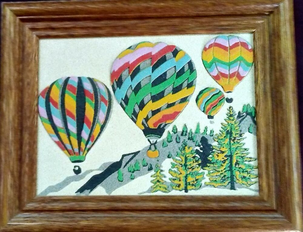 Mid Century Sand Art Painting Hot Air Balloon Albuquerque