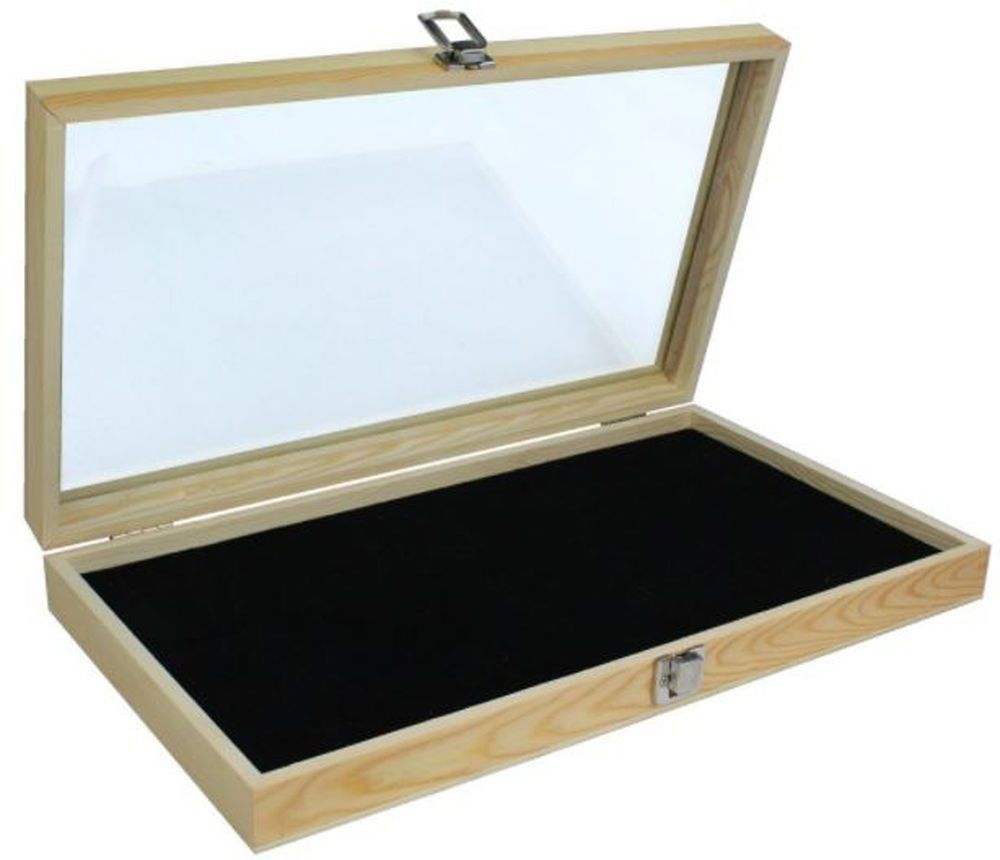 Wood Glass Top Lid Jewelry Display Box Case Black Pad Medals Awards