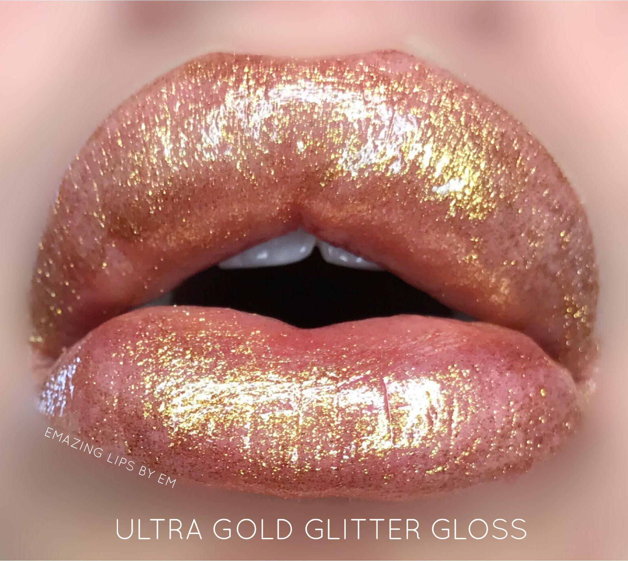 Ultra Gold Glitter Gloss Lipsense By Senegence Lip Graphic Glitter