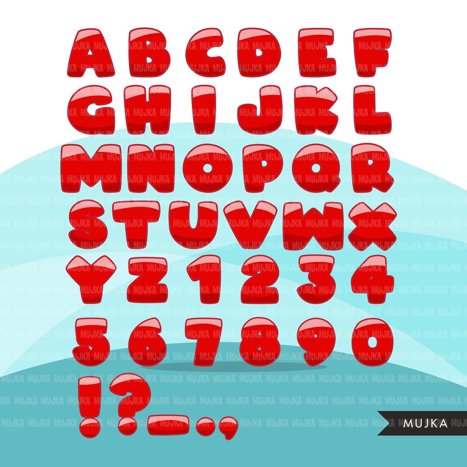 Christmas Alphabet Clipart Bundle Red Stripe And Green