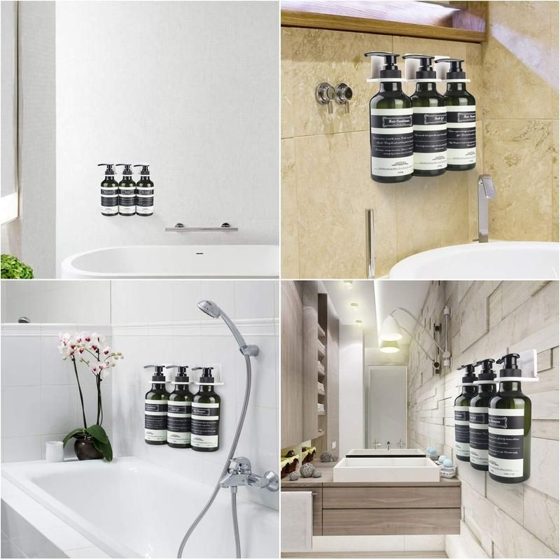 3 Chamber Soap Dispenser Wall Mount Shower Pump 3 X 17 5 Oz Pet Plastic Bottles Stick Without Drilling Water Resistant Sticker Dark Green In 2020 Pet Plastic Bottles Cabin Bathrooms Wall Mount