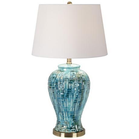 Teal Temple Jar 27 High Ceramic Table Lamp 2v366 Lamps Plus Teal Table Lamps Table Lamp Temple Jar