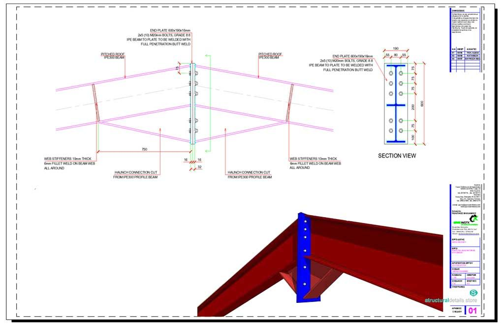 Steel Beam Ridge Apex Haunch Bolted Connection | structuraldetails