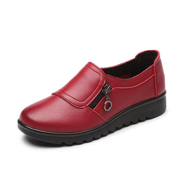 Women Casual Leather Slip On Outdoor Flat Loafers  Banggood