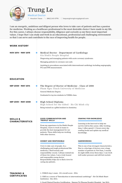 Doctor of medicine resume