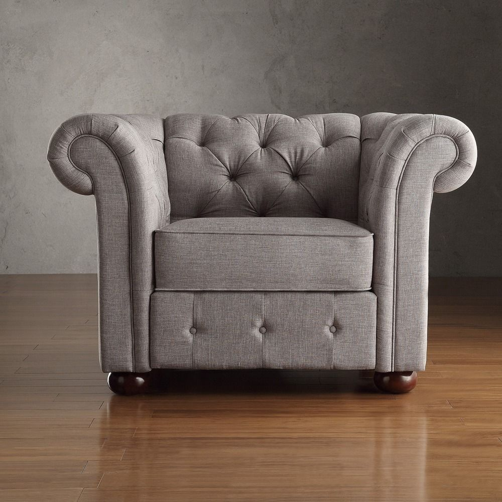 Overstock Living Room Chairs Tribecca Home Knightsbridge Linen Tufted Scroll Arm Chesterfield