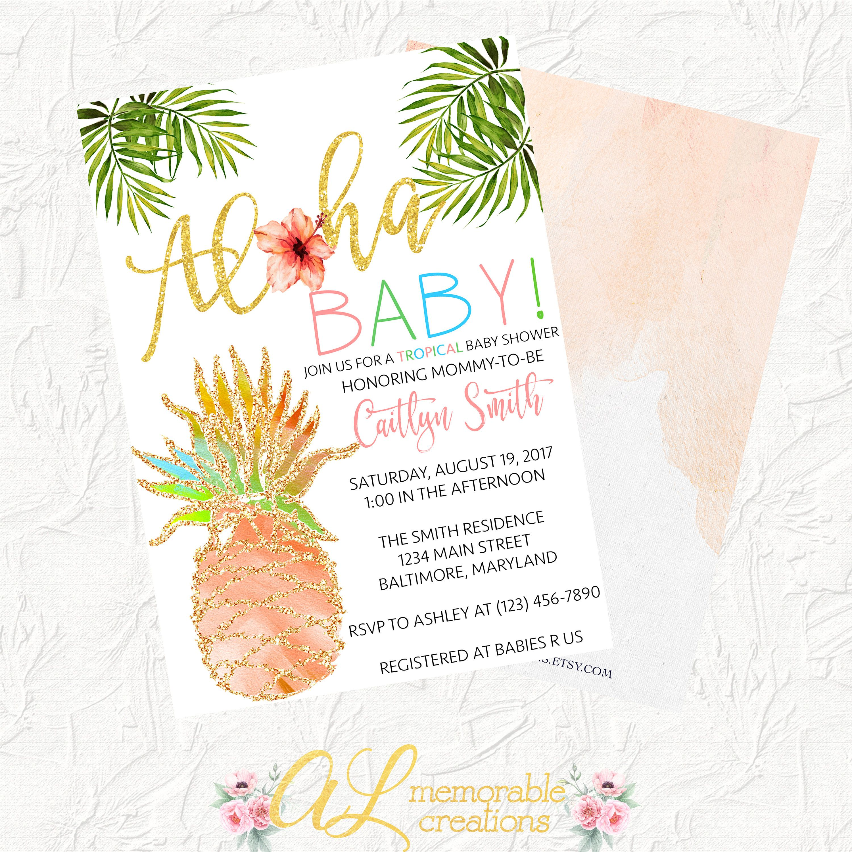 Aloha Baby Shower Invitation, Pineapple Baby Shower Invitation ...