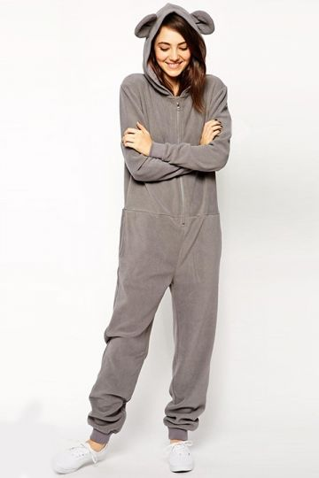 0bf2deee34c Gray Cute Womens Casual Bear Ear Jumpsuit Hooded Onesie - MelodicDay ...